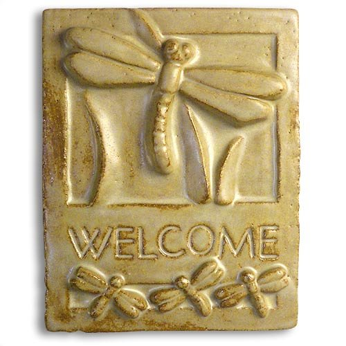 Dragonfly Craftsman-Style Ceramic Clay Welcome Plaque, 9