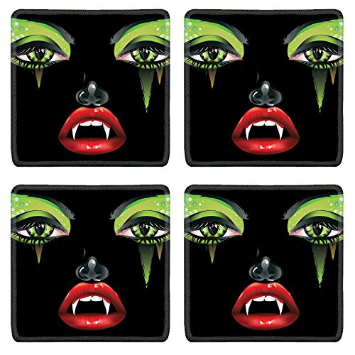Female Vampire Makeup (Luxlady Natural Rubber Square Coasters IMAGE ID: 37401897 Abstract female vampire face with festival eye makeup and red lips)