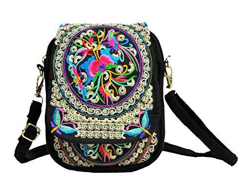 (LeaLac Women Ethnic Embroidered Shoulder Messenger Bag Handmade Crossbody Bag Boho Bags Canvas Handbag Phone Coin Purse Black)