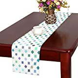 Jnseff Square Colorful Pattern Repeat Color Table Runner, Kitchen Dining Table Runner 16 X 72 Inch For Dinner Parties, Events, Decor