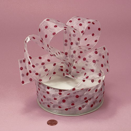 White Sheer Ribbon with Red Polka Dots, 2