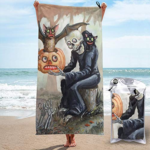 BYEFLY Microfiber Pool Beach Towel Lightweight Quick Dry Towels Sand Free Beach Blanket Yoga Mat Absorbent Gym Travel Bath Body Towels for Swimmers Women Men Halloween Skull Bat Pumpkin Painting ()