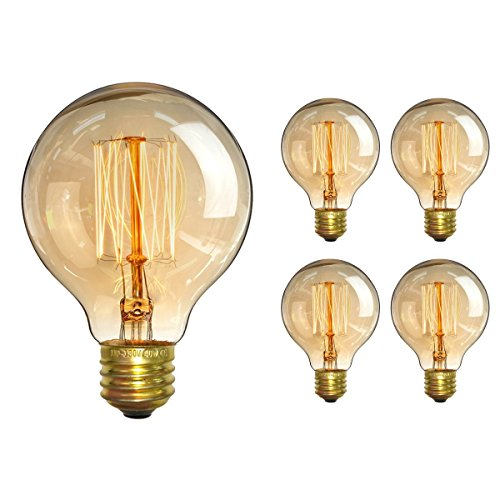 (CTKcom Vintage Edison Bulb(4 Pack)- Antique Incandescent Bulbs Dimmable 40W Equivalent Warm Yellow Lamps, for Loft Coffee Bar Kitchen Home Light Fixtures Squirrel Cage Filament E26/E27 Base G80 110V)