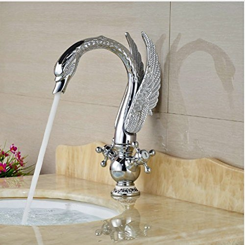 Gowe Newly Contemporary Chorme Polish Basin Faucet Bathroom Sink Tap Double Handles Mixer Faucet 3