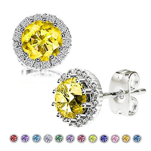(Birthstone Stud Earrings, Copper Plated Cubic Zirconia Earrings for Women Citrine/November Herinos)