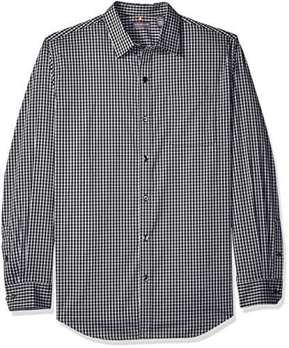 (Van Heusen Men's Traveler Stretch Long Sleeve Button Down Black/Khaki/Grey Shirt, Deep Minicheck, X-Large)