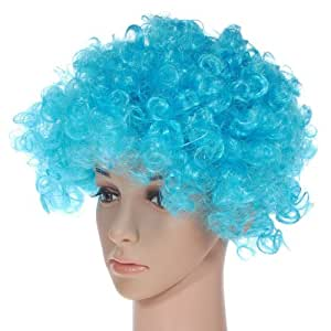 Party Disco Rainbow Afro Clown Hair Football Fan Adult Child Costume Curly Wig Sky blue