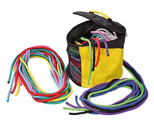 Springseile Set, 20 Seile in verschiedenen Farben, Hüpfseile, Sportseil, 3 m lang, in nützlicher Aufbewahrungstasche - Hüpfen Springen Schulsport Kinderturnen Kinder