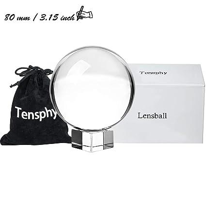 Tensphy K9 Bola de Cristal con Soporte 80 mm   3.15 Pulgadas Claro  Decoración de Arte 82f31b2f5b6d0