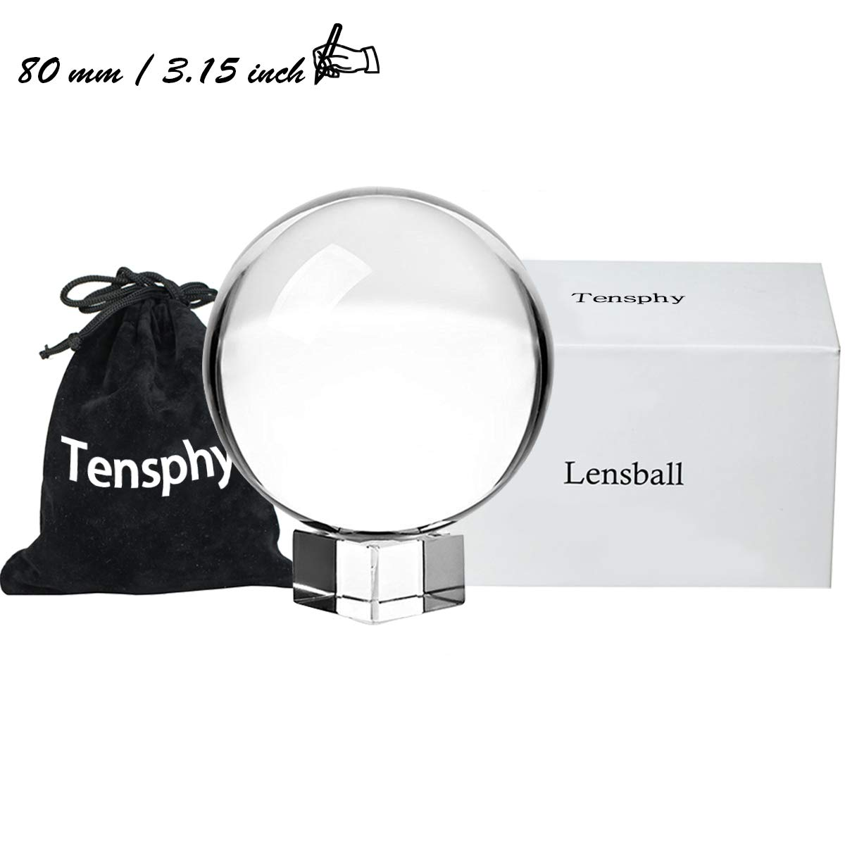 Tensphy Photography Lensball Pro K9 Crystal Ball with Stand Clear Art Decor Glass Photo Sphere Ball for Photography Accessories Props (80 mm/ 3.19 inch)