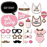 Creationtop 20pcs Baby Show Photo Props, Baby Bottle Masks Pink Photobooth Props Newborn Girl Gift Party Decorations (Baby Girl)