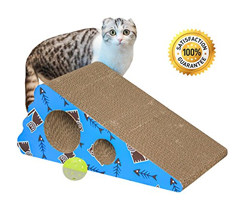 Living Express Multi-activity Kitty/ Cat Scratching Post /Pad with Catnip, Sturdy Recycled Materials Scratcher, Free Toy (Triangle)