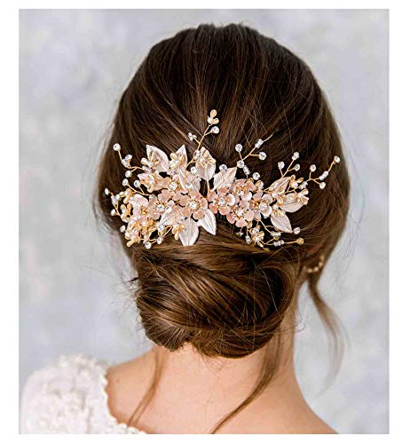 Champagne Gold and Pearl Bridal Hair Comb Olive Branch Wedding Hair Comb
