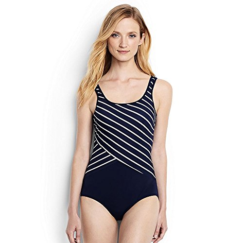 0519ece994 Lands' End Women's Tugless One Piece Swimsuit Soft Cup Print, 8, Deep  Sea/White Poolside Stripe