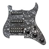 #8: ammoon 3-ply SSH Loaded Prewired Humbucker Pickguard Pickups Set for Fender Strat ST Electric Guitar Black Pearl