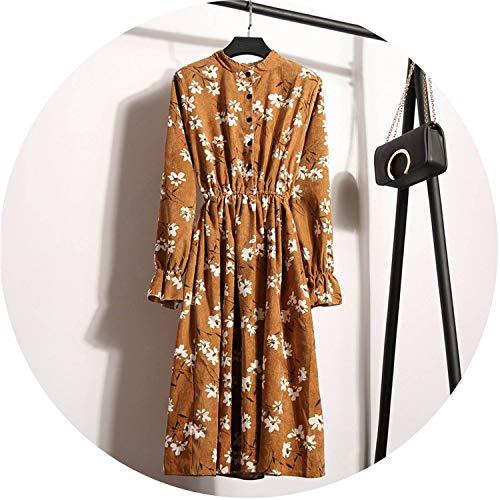 Corduroy High Elastic Waist Vintage Dress A-line Style Winter Women Full ()