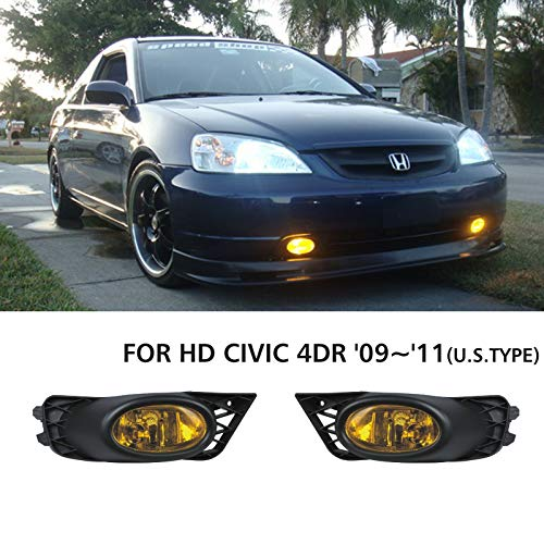 VioletLisa New 1 Pair For Honda 2009-2011 Civic 4Dr/4-Door Sedan Yellow Lens Front Bumper Driving Lamp Fog Lights w/ H11 Bulbs+Switch+Relay+Wire+Hardware ()