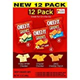 Cheez-It Grooves NEW Variety 12 Pack, 4 Snack Packs each of ORIGINAL CHEDDAR, ZESTY CHEDDAR RANCH, SHARP WHITE CHEDDAR (1 oz packs)