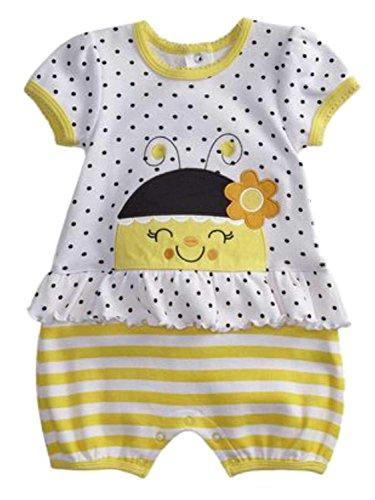 Polka Dot Bumble Bee - Infant Girls Baby Romper Yellow Polka Dot Bumble Bee Bodysuit Creeper 3-6m