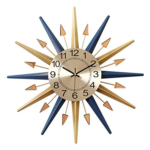 SHISEDECO Mid-Century Instruments Satellite Metal Crystal Wall Clock, Large Starburst Decoration for Home, Kitchen…