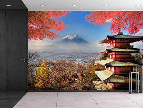 Japanese Shrine on a Garden Looking Over Mount Fuji Wall Mural
