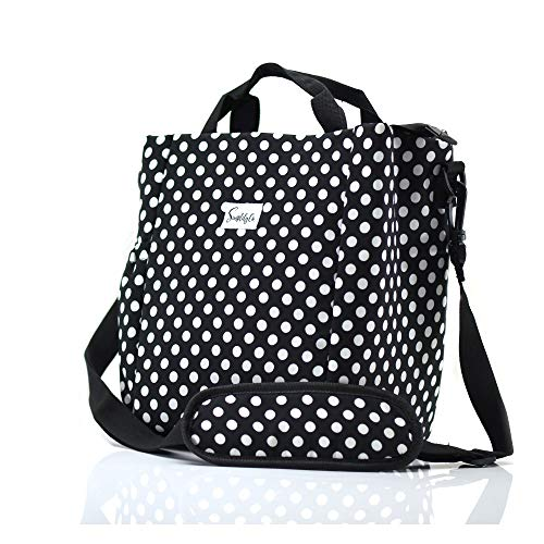 (Simplily Co. Insulated Lunch Bag with Shoulder Strap and Drink Side Pocket, Black and White Polka Dots (9 inches tall))