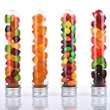 Amazlab Gumball Candy Tubes, Clear Plastic Lab Test Tubes Silver Lid, Drinks Cocktail Jelly Belly Bean Cookie Nuts Bottle Containers Halloween Wedding Party Décor, Multi-purpose, Set of 10