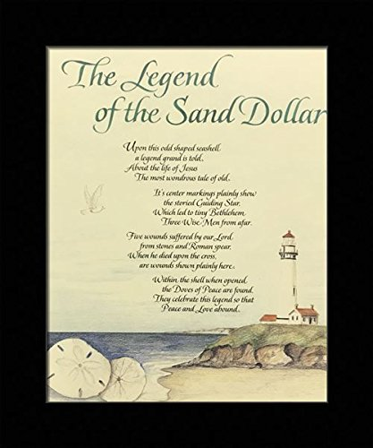 image relating to The Legend of the Sand Dollar Printable titled : Black 1 inch Framed with The Legend of The Sand