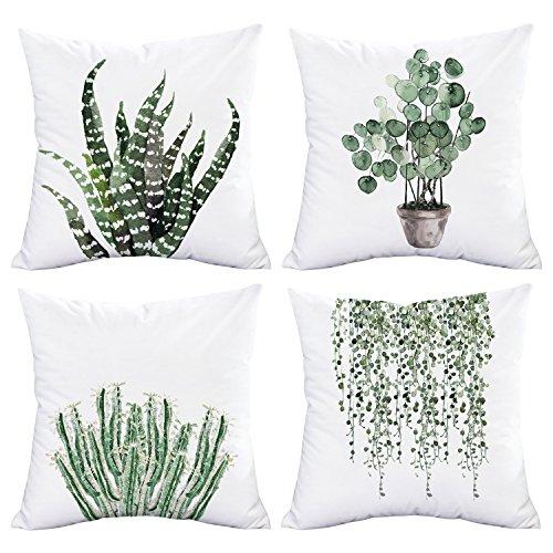 BLEUM CADE Pillow Cover Set of 4 Green Plants Throw Pillow Cover Decorative Square Pillow Cover Cushion Cover