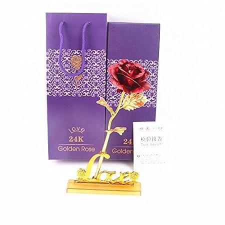 Inovey 24 K Oro Sumergido Hoja Rosa Flor, Regalo Romántico Día De ...