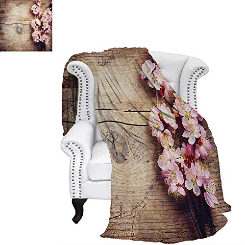 mmer Quilt Comforter Spring Blossom on Wooden Table Romantic Natural Farmhouse Countryside Style Print Digital Printing Blanket 60