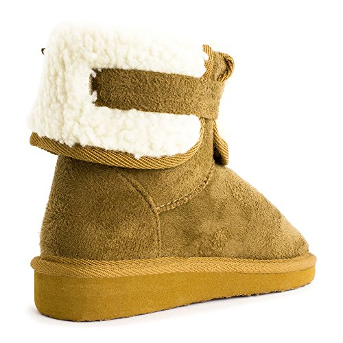 Buckle Womens Fur Ankle Adults Side Lining Winter Tan Booties BBwtn5rqv