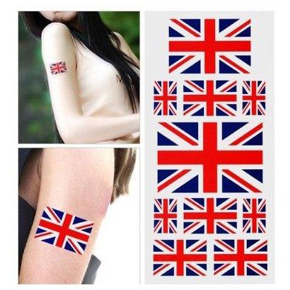 TOOGOO Fans GB Union Jack Flag Tattoo Temporary Body Face Stickers Art (Union Jack Tattoos)