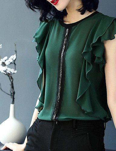 De Color Yfltz Sólido Green Básica Mujer Vintage Blusa CwCrqRtZ