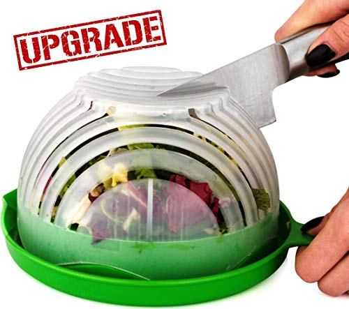 (UPGRADE Salad cutter bowl - Best Salad maker. Vegetable chopper, Cutter for Lettuce or Salad chopper for Salad in 60 Seconds by O'Salata (Green))