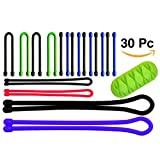 30 Pack O'Hill Multi-Color Reusable Rubber Twist Ties Eco-Friendly Silicone Cable Tie for Computer, Appliance and Electronic Cord Management, Bonus with Table Cable Organizer