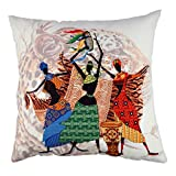 Premium Decorative Cushion Throw Pillow Hypoallergenic Stuffer Silicone Filling (17'' x 17'') | Animal Leopar Woman Dance Clan Special Clothing Home 50% Cotton 50% Polyester Full with Silicone