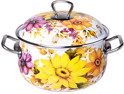 Red Co. Enamel On Steel Round Covered Stockpot, Pasta Stock Stew Soup Casserole Dish Lid, Up to 3 Quarts - 18 cm