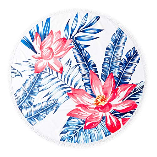 Matawawa Hawaiian Ocean Lotus Flower Large Thick Round Circle Beach Blanket Towel with Tassels, Suitable for Camping, Picnic, Yoga (Machine Washable, Ultra Soft, Super Water Absorbent) ()