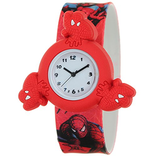 Silicone Strap Round Quartz Kids Lovely Cartoon Analog Spiderman Spinner Rotating Case Waterproof Slap On Rubber Band Arabic Numerial Dial Child Toddler Wristwatches Time Teacher Boys Girls (Spider Man Spring)