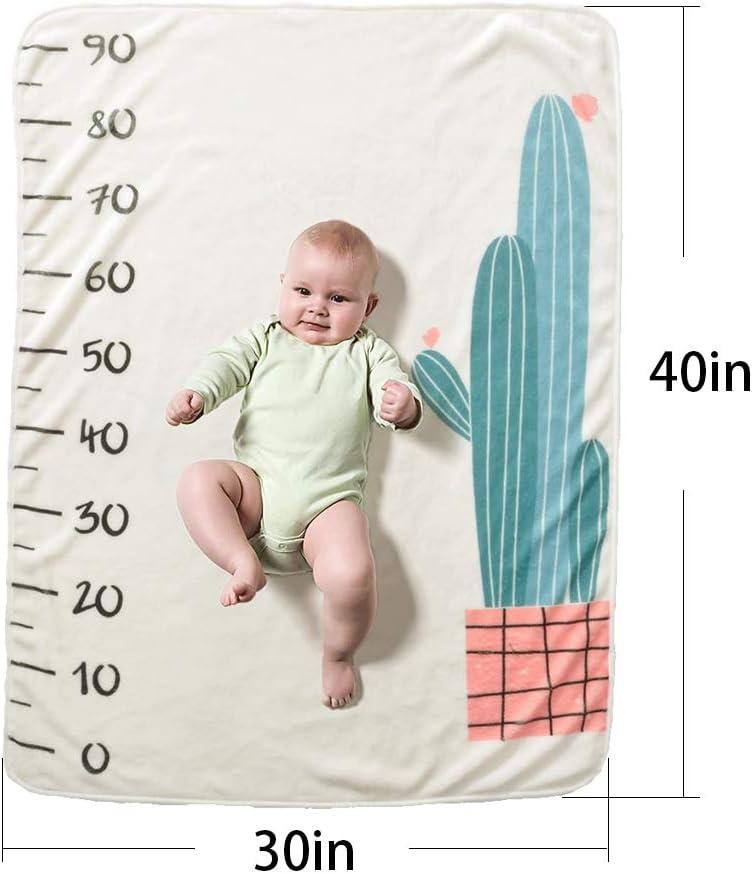 Decdeal Manta para reci/én nacidos con dise/ño de hitos y fondo con tabla de crecimiento mensual para ni/ña y ni/ño Tipo 2
