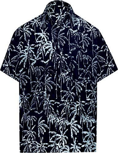 "LA LEELA Men Palm Tree Print Hawaiian Shirt for Men Black_AA203 L |Chest 44""-48"""