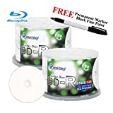 Smartbuy 100-disc 25GB 6x BD-R Blu-Ray White Inkjet Hub Printable Blank Media Disc + Black Permanent Marker