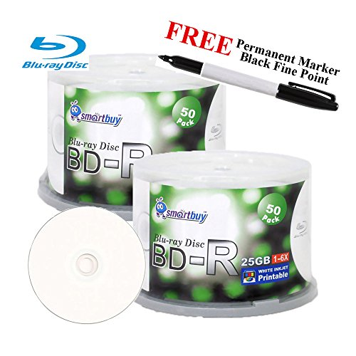 Smartbuy 100-disc 25GB 6x BD-R Blu-Ray White Inkjet Hub Printable Blank Media Disc + Black Permanent Marker by Smartbuy