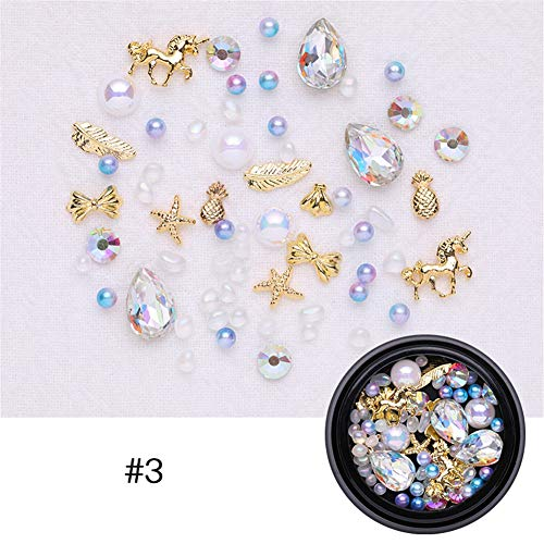 - NICOLE DIARY 1 Wheel Mixed Nail Art Rhinestones Diamonds Crystals Gems Beads Gold Nail Studs Metal Rivets Feather Pineapple Star Mixed Shaped Colors Ornament for DIY 3D Nail Art Decoration