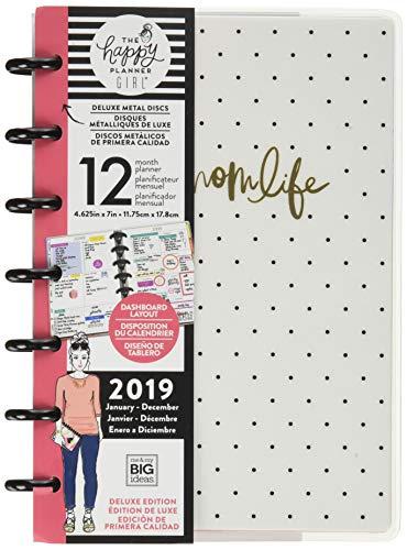 Me & My Big Ideas PLNM-97 The Happy Girl - 2019 Deluxe Mini 12 Month Planner - Super Mom, Black & White, Mini