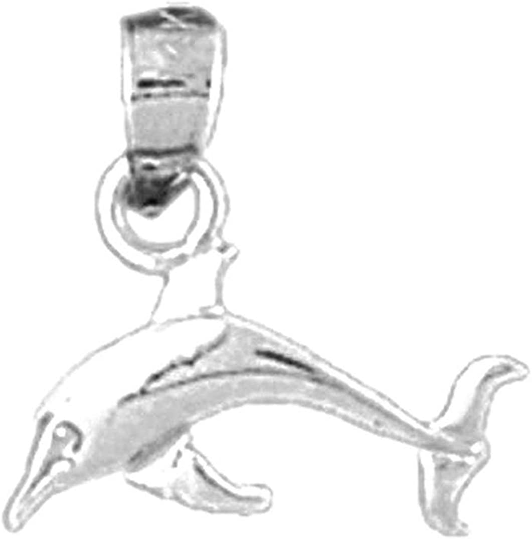 Jewels Obsession Silver Dolphins With Coral Necklace Rhodium-plated 925 Silver Dolphins With Coral Pendant with 18 Necklace