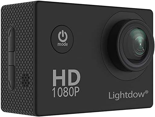 Lightdow LD4000 1080P HD Sports Action Camera Kit – 30 Meter Underwater Waterproof 1.5 Inch LCD Screen 170 Degree Wide Angle Rechargeable Battery and Mounting Accessories Black