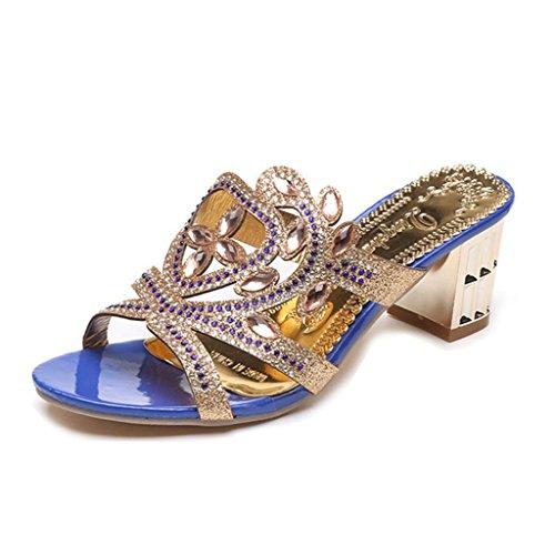 GIY Womens Rhienstone Chunky Heels Evening Wedding Dress Slide Sandal Slip On Party Dress Wedge Sandals Blue