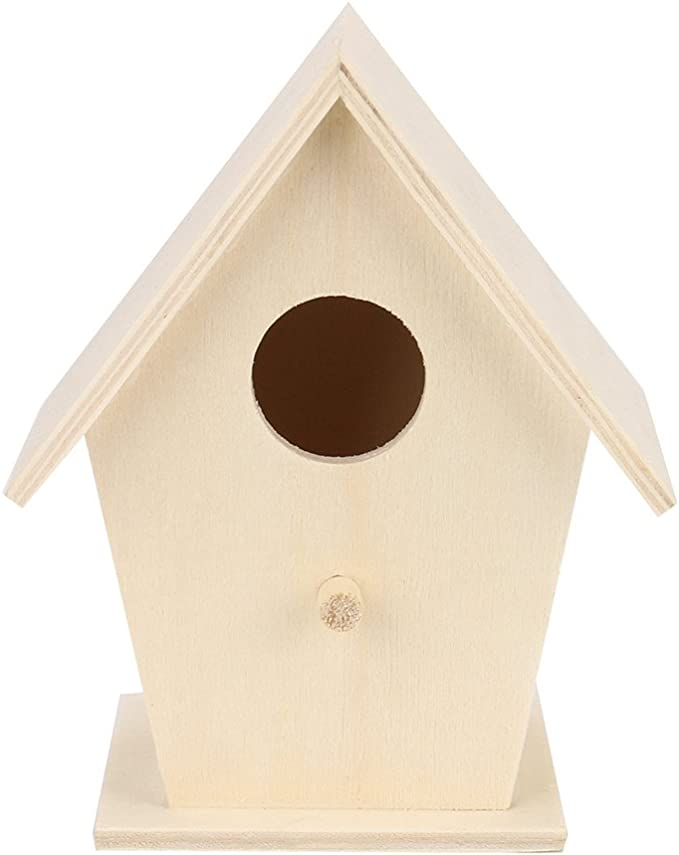 FiedFikt - Caja nido de madera para pájaros pequeños, pájaros, para nido de pájaros, hotel, jardín, decoración de insectos de madera, para el hogar, jardín, decoración de jardín, refugio de nido: Amazon.es: